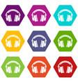 Headphones icons set 9 vector image