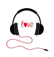 Headphones with cord Love card Red text heart vector image vector image