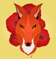 Hipster style fox and roses vector image vector image