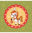 Horse Christmas card design vector image