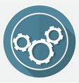 icon gears on white circle with a long shadow vector image vector image