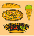 icons sweet fast food hand drawn restaurant vector image vector image