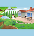 man watering his grass and garden vector image