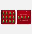 merry christmas template set holiday xmas trees vector image