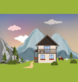 mountain landscape with house and trees summer vector image
