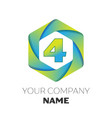 number four symbol on colorful hexagonal vector image vector image