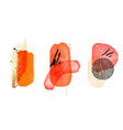 orange watercolor shapes gold elements isolated vector image