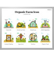 organic farm icons linecolor pack vector image