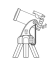 outline catadioptric telescope vector image