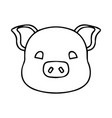 outline of a cute pig head vector image