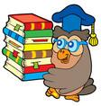 owl teacher holding pile of books vector image