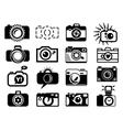 Photo camera set icons vector image