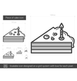 Piece of cake line icon vector image vector image