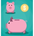 Piggy bank and coin vector image vector image