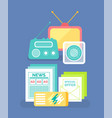 radio and message paper old communication vector image vector image