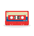 retro audio cassette in red color isolated on a vector image vector image
