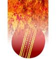 roaring flaming cricket ball vector image