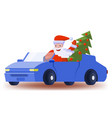 santa claus drives a car with an elegant christmas vector image