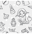 Seamless texture of childrens toys for the girls vector image vector image