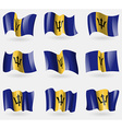 Set of Barbados flags in the air vector image