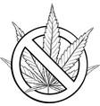 sign prohibition cannabis ban marijuana vector image