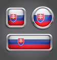 Slovakia flag glass buttons vector image vector image