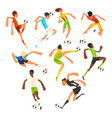 soccer player set football athletes playing vector image vector image