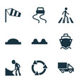 transport icons set with side wind road work vector image