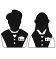 waiter and waitress head icon vector image vector image