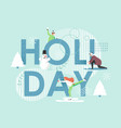 winter holiday flat style design vector image