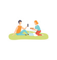 young man and woman eating burgers and drinking vector image