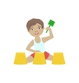 By Playing With Sand Pies On The Beach vector image