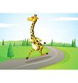 A giraffe running along the road vector image vector image