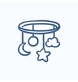 Baby bed carousel sketch icon vector image