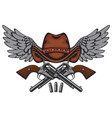 banner with two old pistols cowboy hat and wings vector image vector image