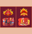 barbecue party emblems with flame and grill set vector image