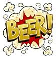 beer word comic book pop art vector image vector image