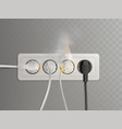 burning electrical outlet with power plugs vector image vector image