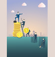 business man standing on coin stack point finger vector image vector image
