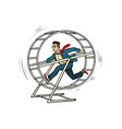 businessman in a squirrel wheel vector image