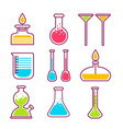 chemical flasks chemistry science laboratory vector image