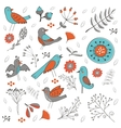 Colorful composition with birds and flowers vector image vector image