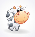 cute cow cartoon character with big head vector image
