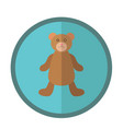 cute round icon with teddy bear vector image
