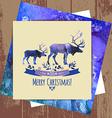 Deers christmas watercolor card vector image vector image