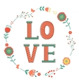 Elegant card with Love word in wreath vector image vector image