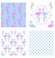 flamingo seamless pattern set vector image