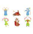 flat set of magicians in different actions vector image vector image