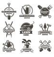 gardening emblems vintage gardening lawn care vector image