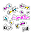 girl stickers stars firework superstar logo vector image